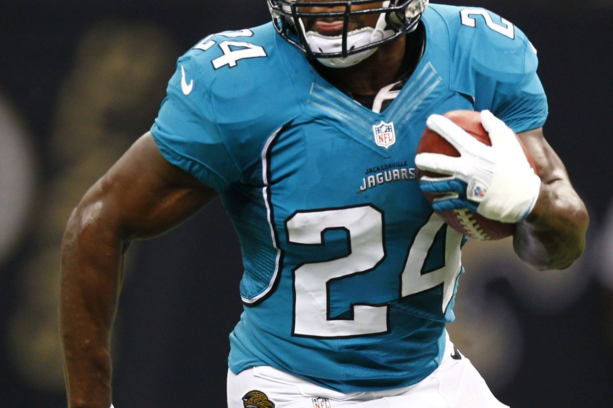 August 17, 2012; New Orleans, LA, USA; Jacksonville Jaguars running back Montell Owens (24) runs against the New Orleans Saints during the first half of a preseason game at the Mercedes-Benz Superdome. Mandatory Credit: Derick E. Hingle-US PRESSWIRE