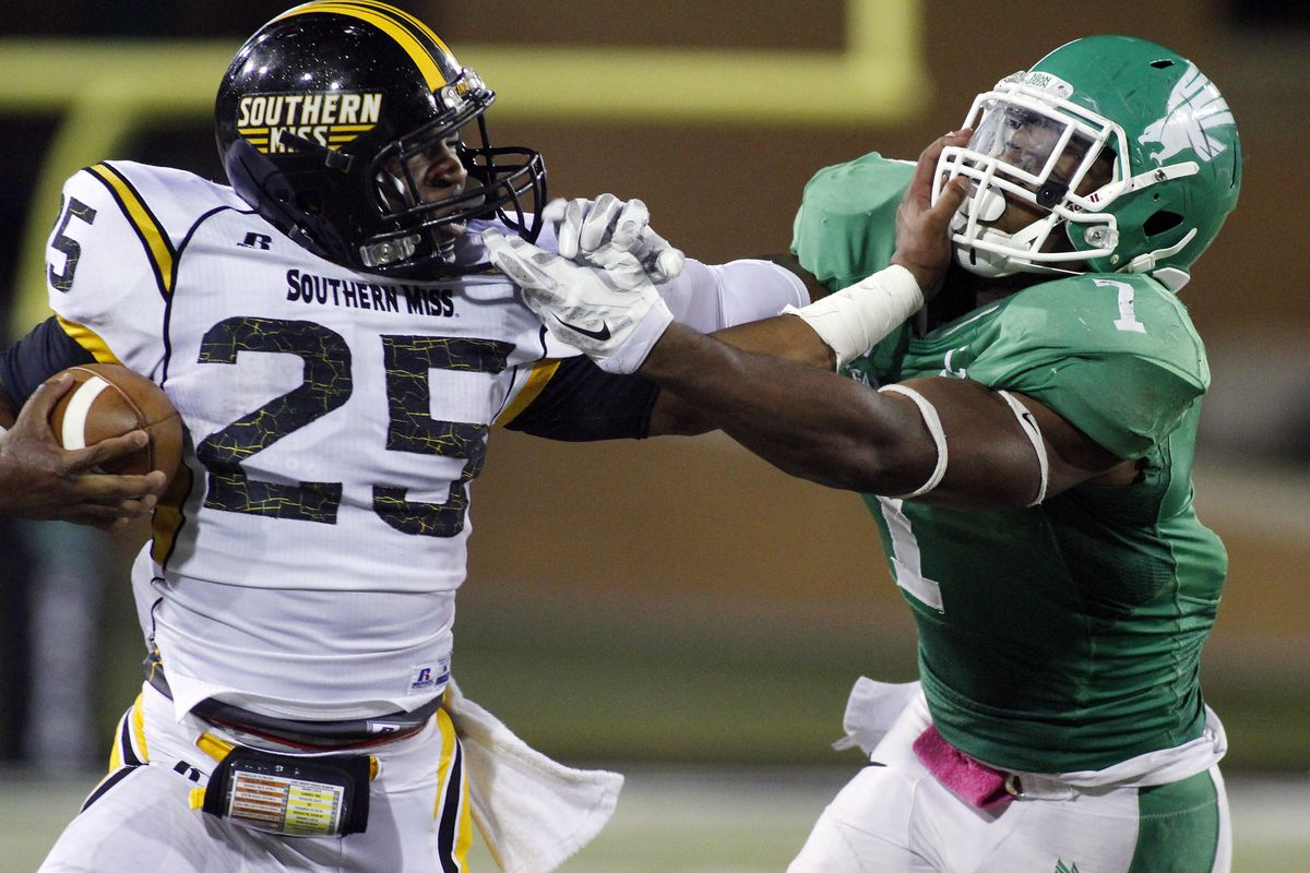 Southern Miss tangles with North Texas in the 2014 match-up in Denton, a 30-20 victory for the Golden Eagles.