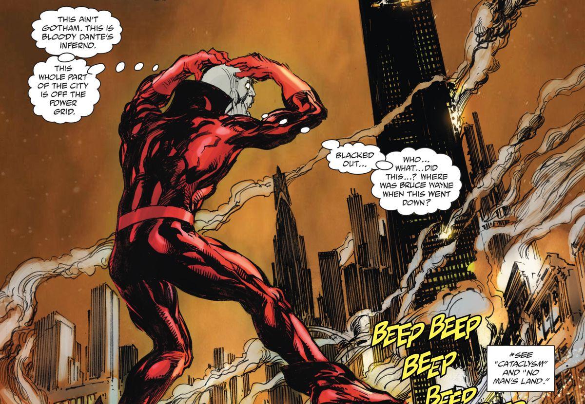 Deadman floats, amazed, at a bombed-out Gotham City in Batman vs. Ra's al Ghul #1, DC Comics (2019).