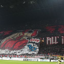 The AC Milan fans show their support prior to the Serie A match between AC Milan and FC Internazionale at Stadio Giuseppe Meazza on March 17, 2019 in Milan, Italy.