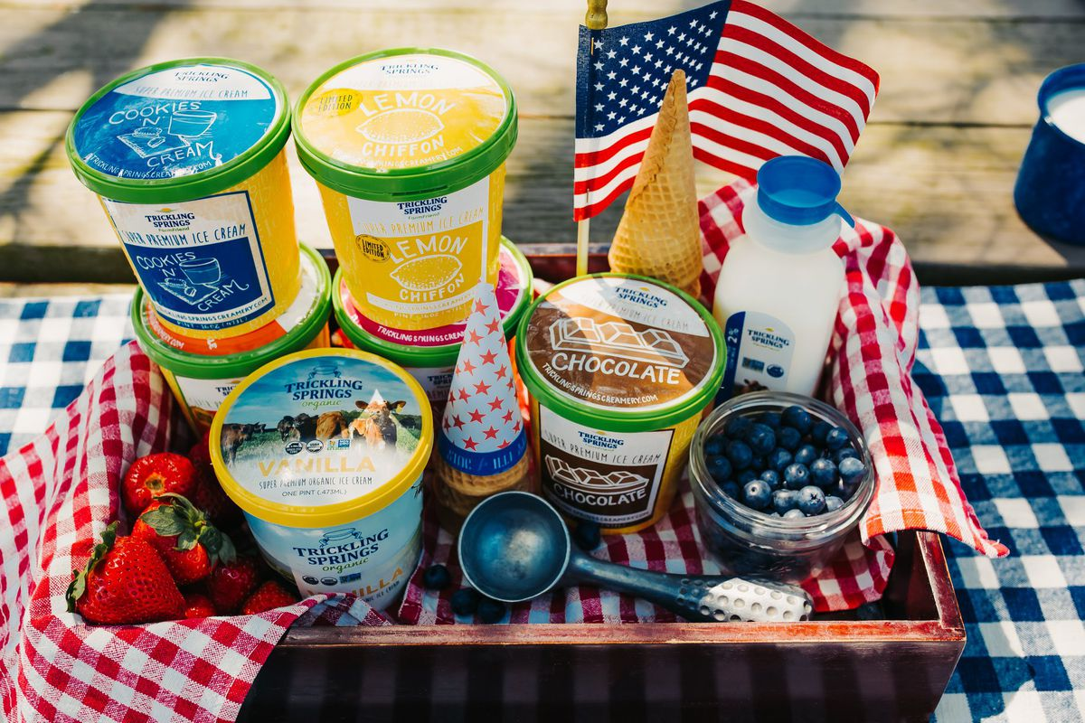 Cartons of various flavors of ice cream from Trickling Springs