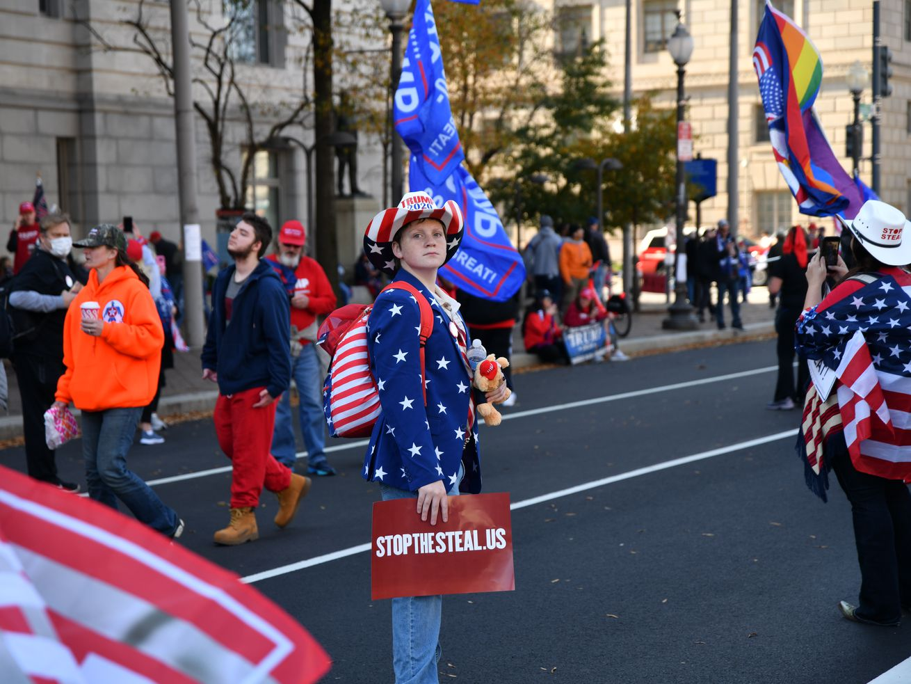 People dressed red, white, and blue wave flags and carry signs at a pro-Trump ''Stop The Steal'' conspiracy theory rally.