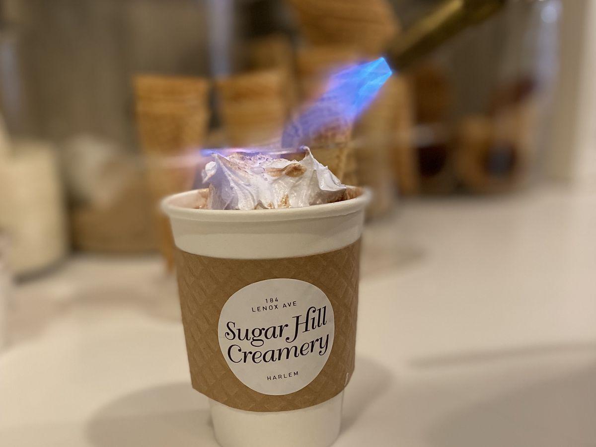 Sugar Hill Creamery hot chocolate includes vanilla ice cream