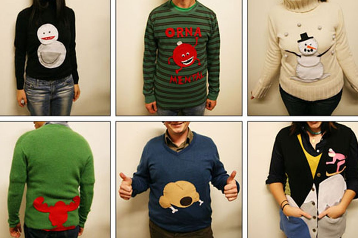 """Just a hint of what to expect at Saturday's benefit at the El Rey; or maybe these are a touch too classy? Image via <a href=""""http://anneruthmann.blogspot.com/2007/12/love-it-ugly-sweater-decorating-party.html"""">Ann Ruthman Photography</a>"""