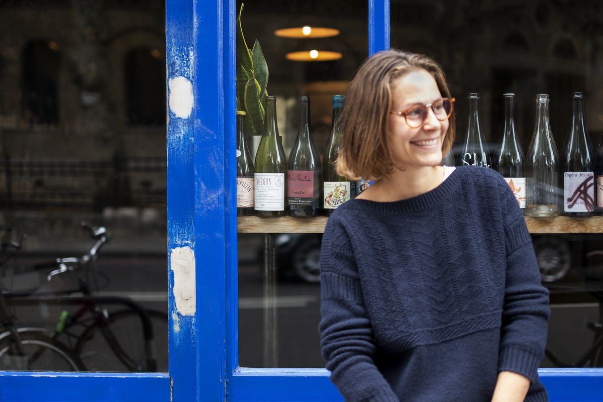 Chef Anna Tobias — alum of The River Cafe and Rochelle Canteen — outside Lower Clapton wine bar and restaurant P. Franco, that forms part of the best 24 hour restaurant travel itinerary for London — where to eat with one day in the city