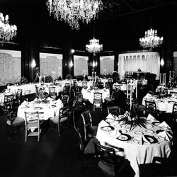 A banquet room at the Hotel Utah in Salt Lake City.
