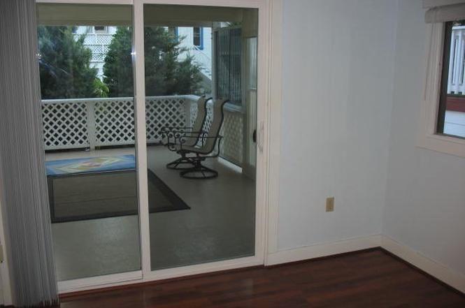 Sliding door leading to deck