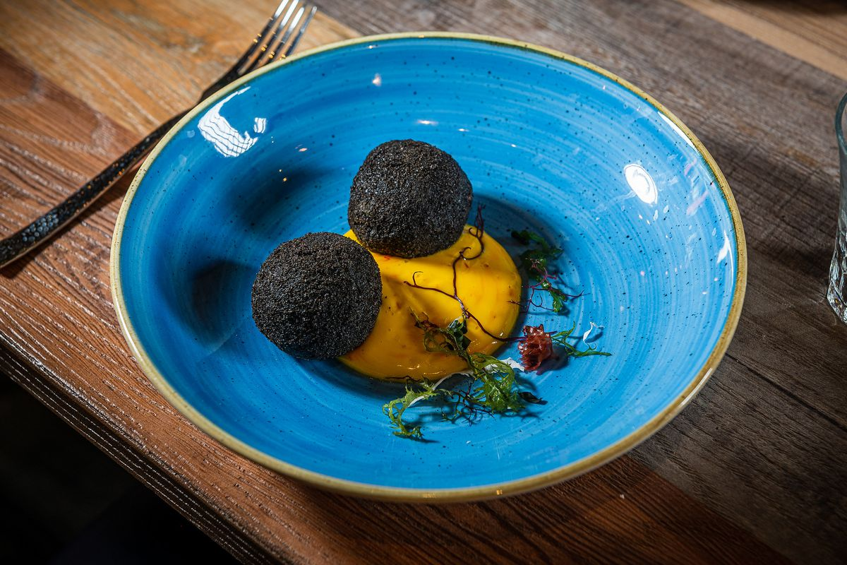 Squid ink arancini from Lupo Pizzeria