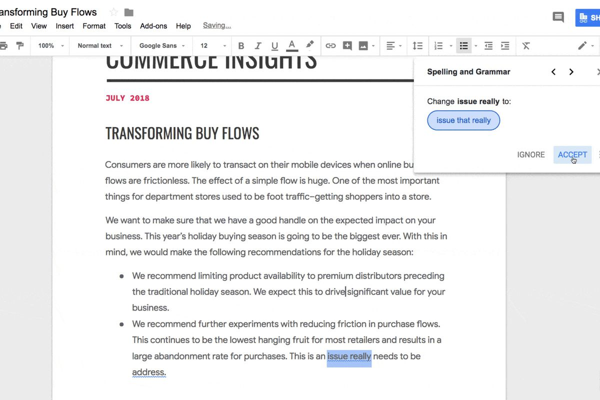 Google Docs Gets A Grammar Checker That Relies On Machine - Google docs google docs