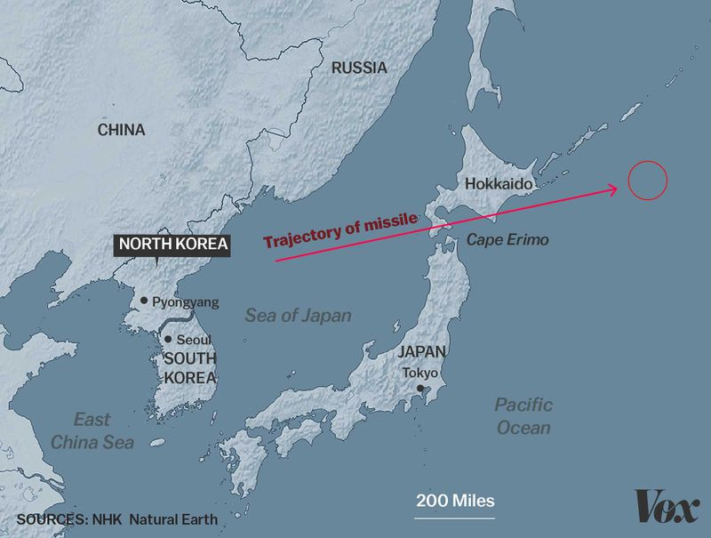 North korea just launched a missile over japan vox the missiles estimated trajectory javier zarracinavox sciox Image collections