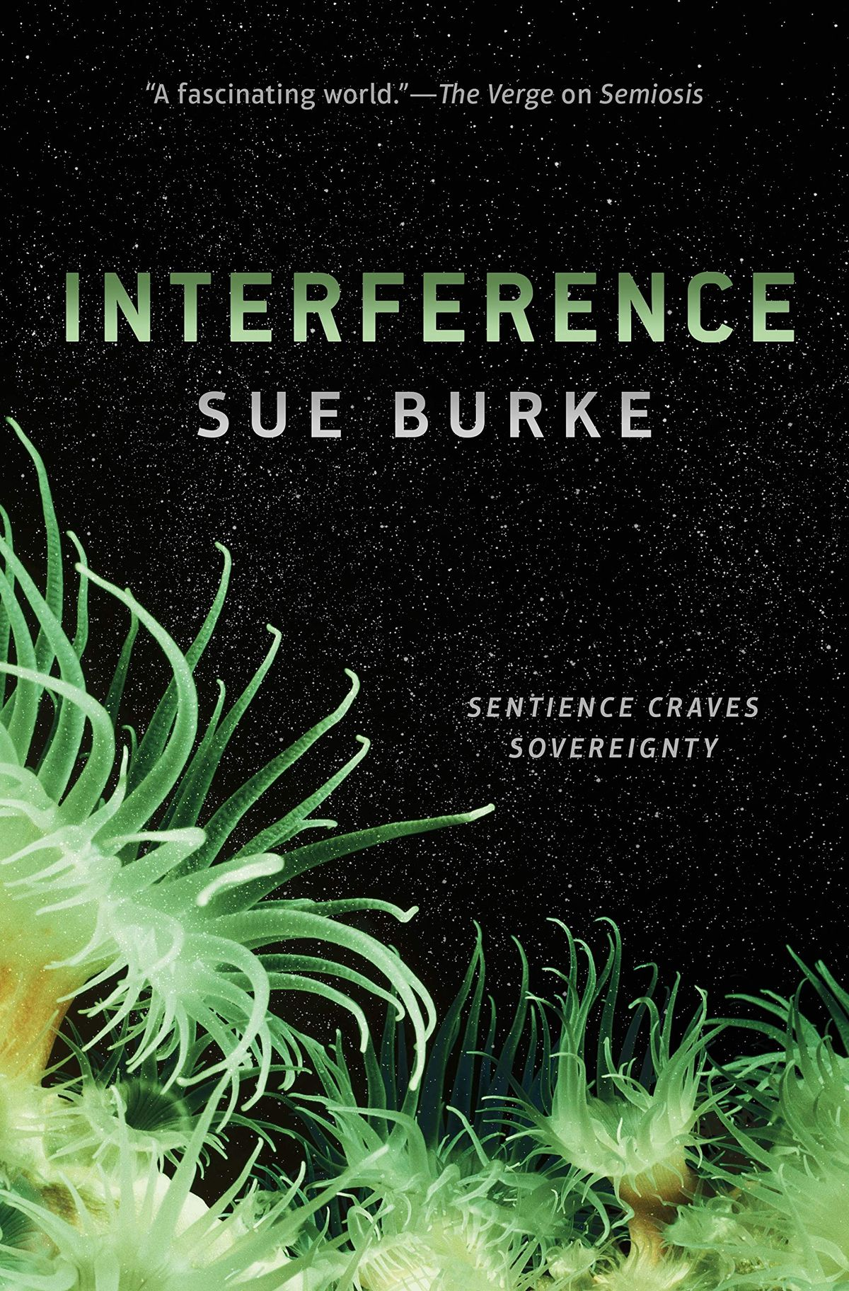 cover for interference; a black, starry sky, below are green plants
