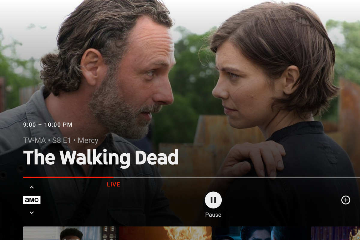 """A screenshot of two actors in """"The Walking Dead"""" on YouTube's TV app"""