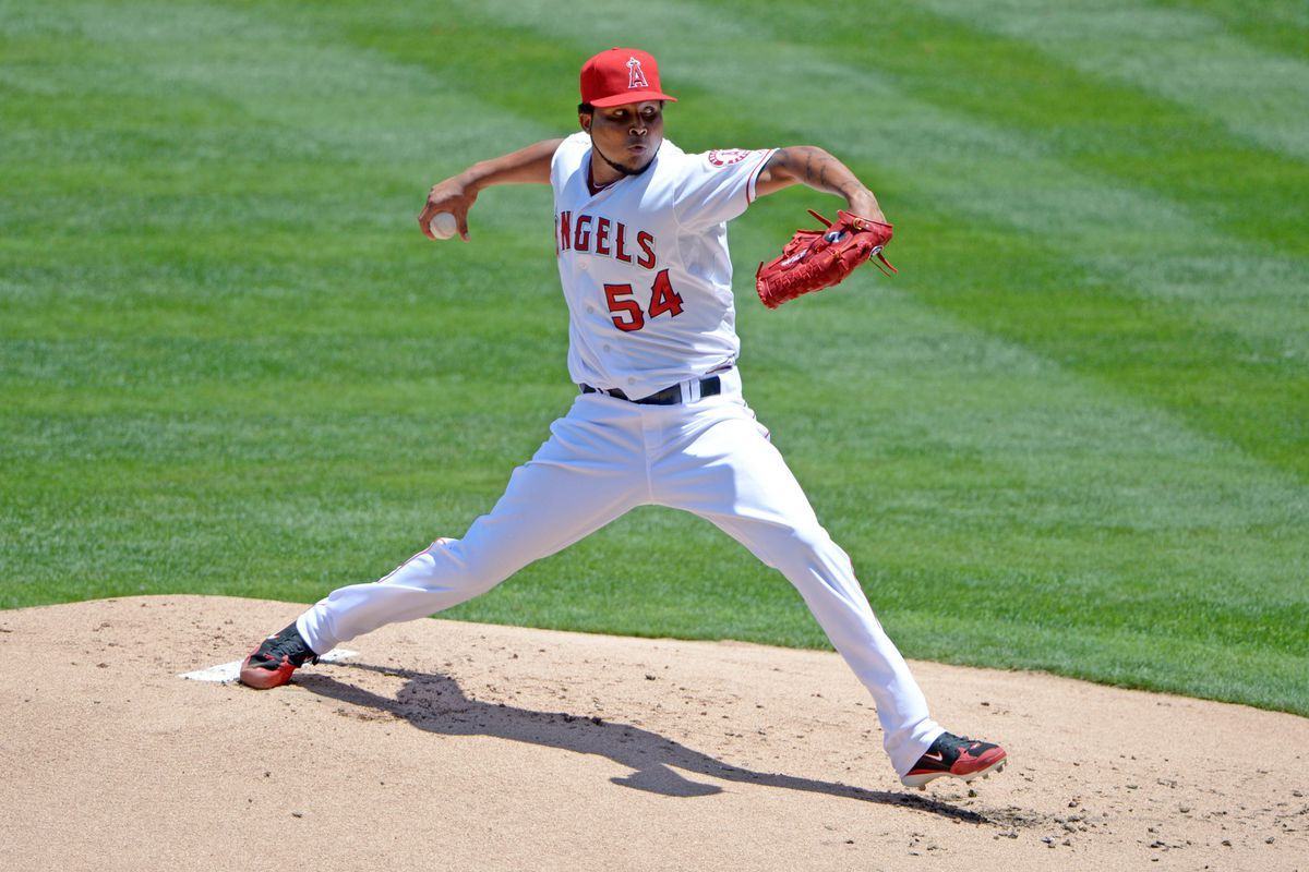 Jul 21, 2012; Anaheim, CA, USA; Los Angeles Angels starter Ervin Santana (54) delivers a pitch against the Texas Rangers at Angel Stadium. Mandatory Credit: Kirby Lee/Image of Sport-US PRESSWIRE