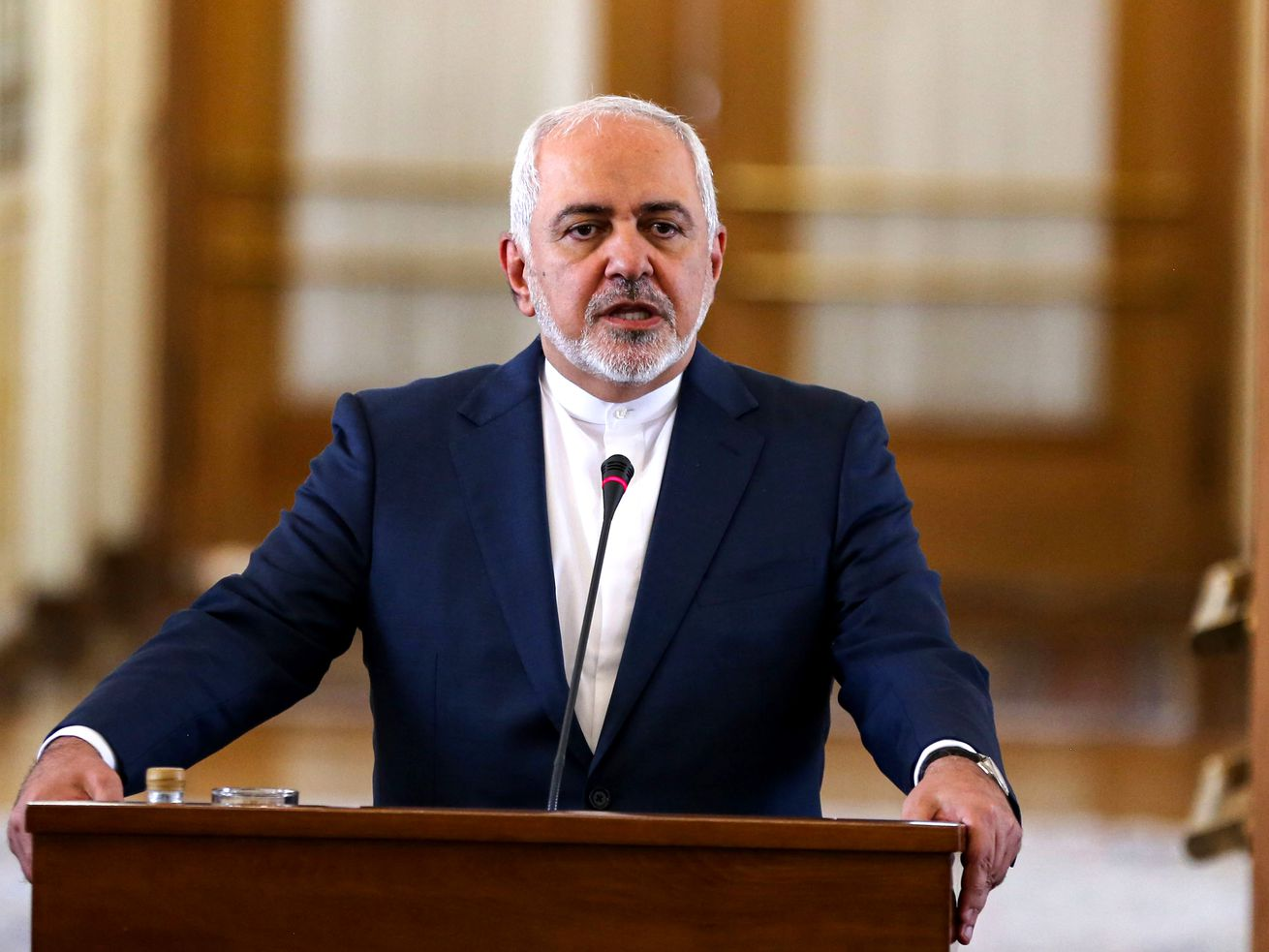 Iran's Foreign Minister Mohammad Javad Zarif at a joint press conference in Tehran on June 10, 2019. He just confirmed that his country violated part of the Iran nuclear deal.