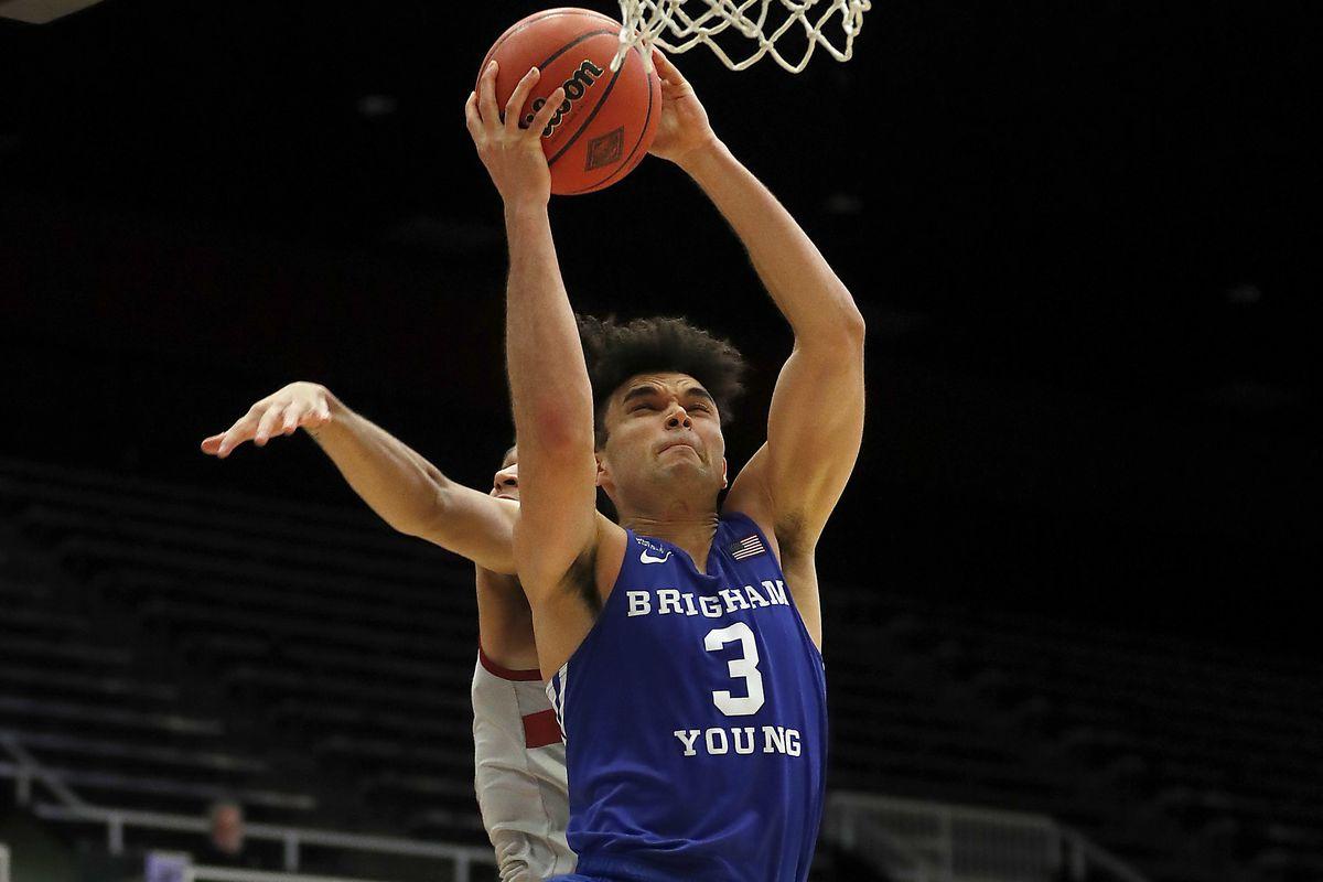 BYU guard Elijah Bryant drives to the basket.