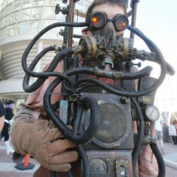 Mike Simpson wears his Fear Factor costume at Comic Con in Salt Lake City Thursday, Sept. 5, 2013.
