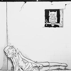 """Annie Poon's India ink on paper """"Thou Art Not Yet as Job"""" is featured in the BYU Museum of Art's """"The Interpretation Thereof: Contemporary LDS Art and Scripture"""" exhibition."""