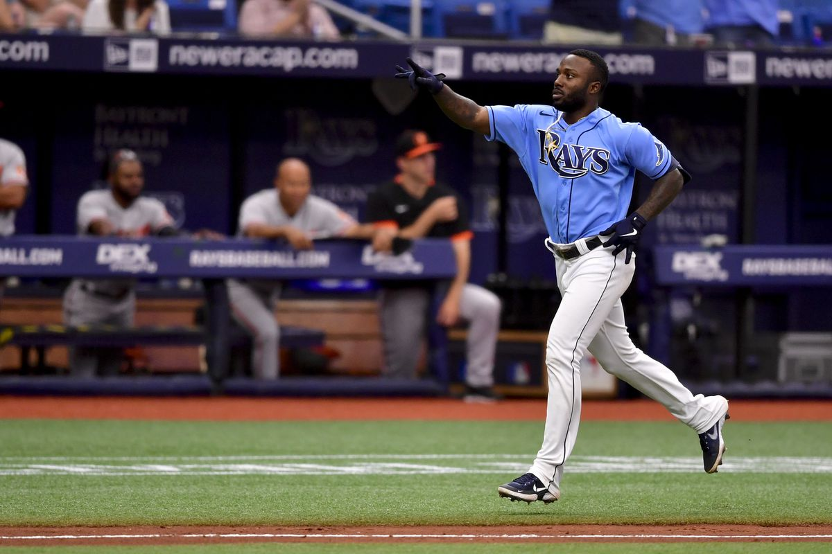 Randy Arozarena #56 of the Tampa Bay Rays reacts after hitting a grand slam during the seventh inning against the Baltimore Orioles at Tropicana Field on June 13, 2021 in St Petersburg, Florida.