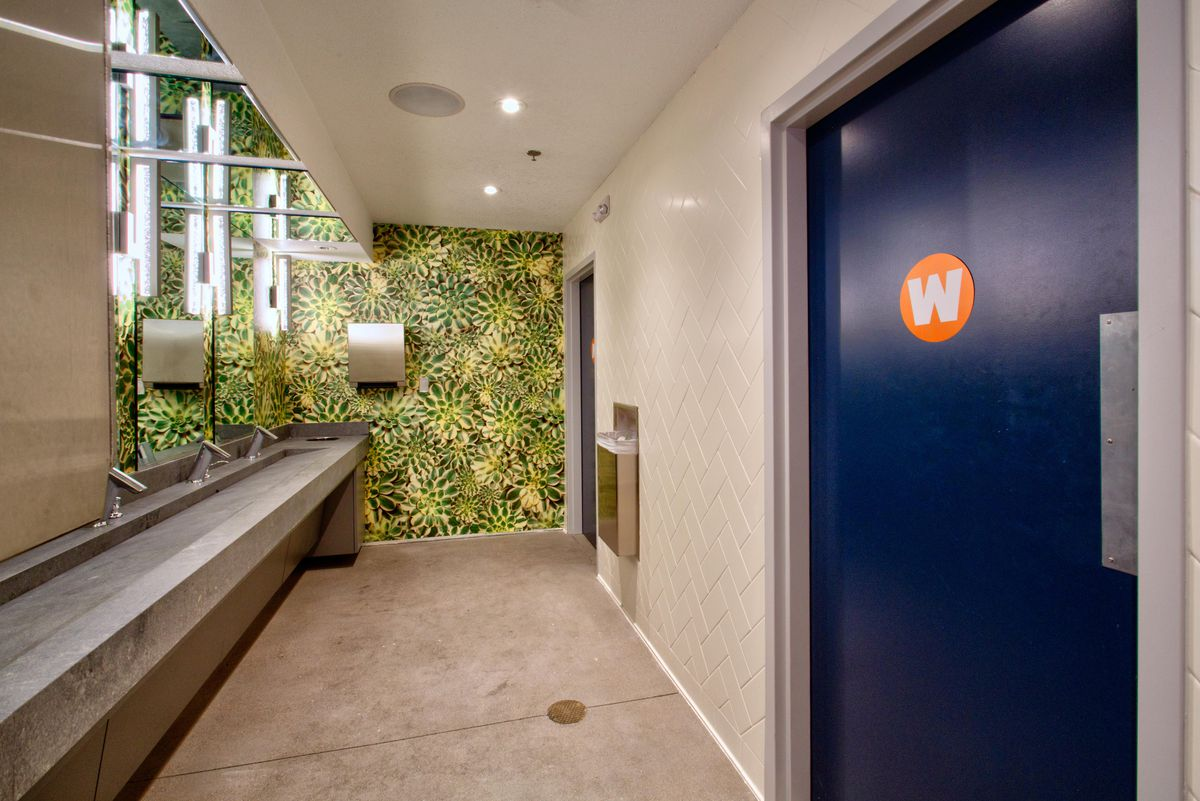 The common washroom at The Front Yard