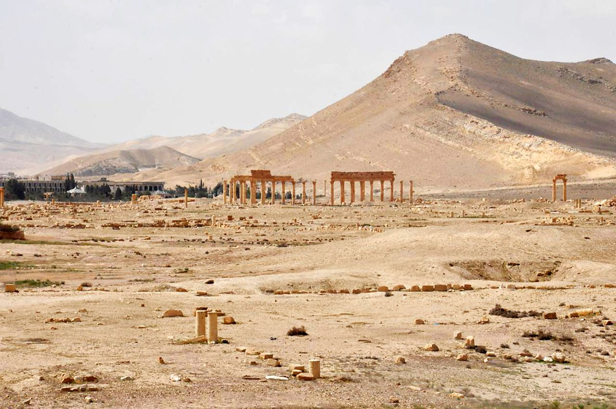 This photo released on Sunday March 27, 2016, by the Syrian official news agency SANA, shows a general view of Palmyra after the Syrian army was able to push out ISIS.