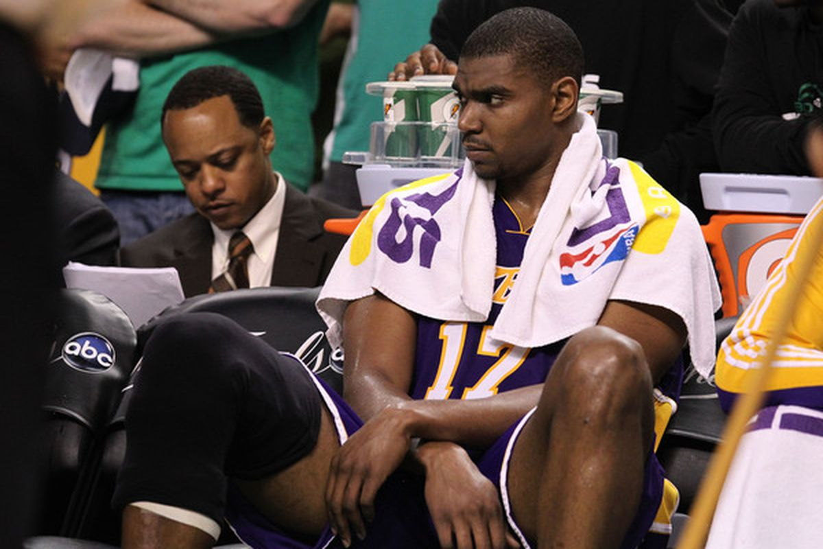 Andrew Bynum, recovering from offseason knee surgery, is still at least a week away from returning to practice with the Los Angeles Lakers. The center will undergo an MRI on Tuesday.