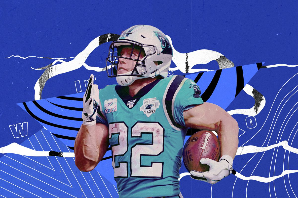 Panthers RB Christian McCaffrey runs with the ball in his right hand, superimposed on a blue background with shapes