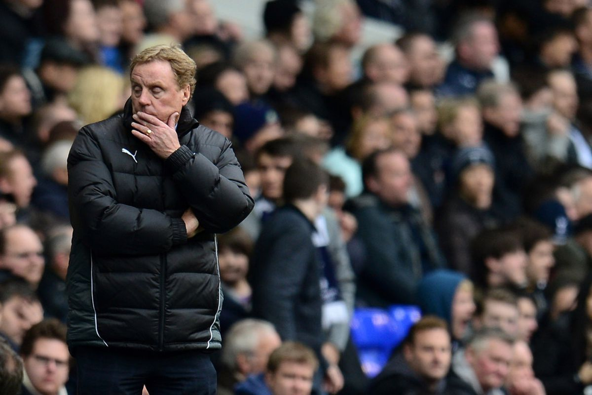 LONDON, ENGLAND - APRIL 09:  Manager Harry Redknapp of Spurs looks on during the Barclays Premier League match between Tottenham Hotspur and Norwich City at White Hart Lane on April 9, 2012 in London, England.  (Photo by Shaun Botterill/Getty Images)