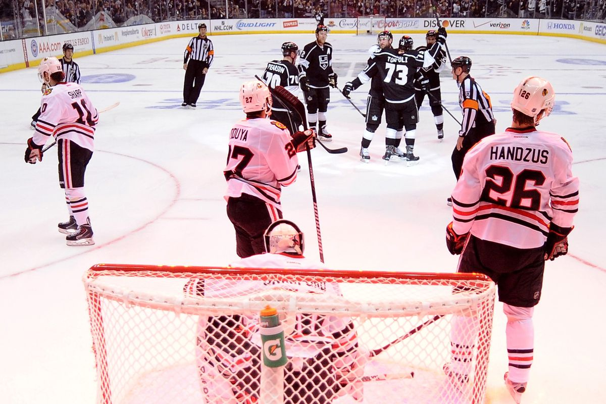 Tyler Toffoli and the Kings celebrate his goal in game three.