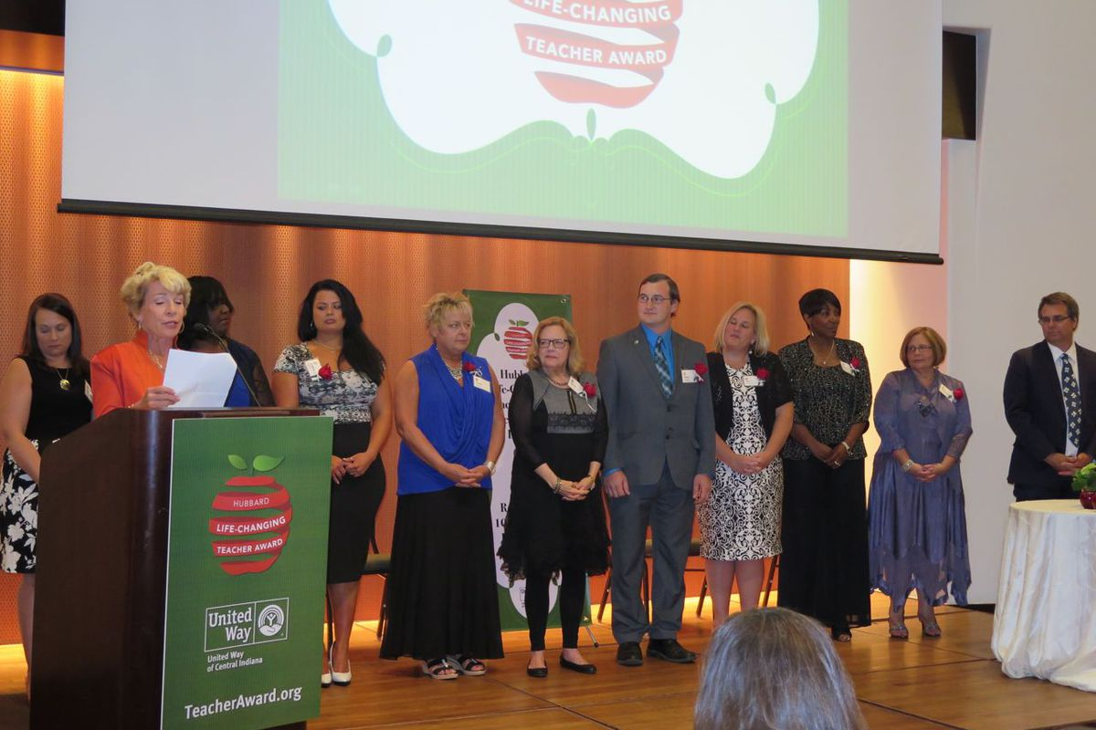 Kathy Hubbard introduces the 10 finalists for the Hubbard Life-Changing Teacher Awards at tonight's ceremony.