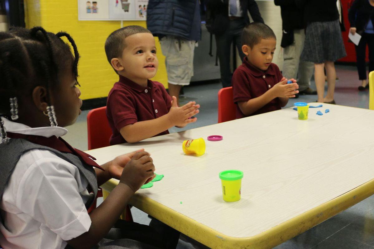Students play in a 3-K class in 2017 at P.S. 277 in the Bronx, a school with five classrooms that need remediation for lead-based paint.