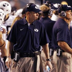 head coach Bronco Mendenhall of the Brigham Young Cougars watches during the first half of NCAA football in Boise, Thursday, Sept. 20, 2012.