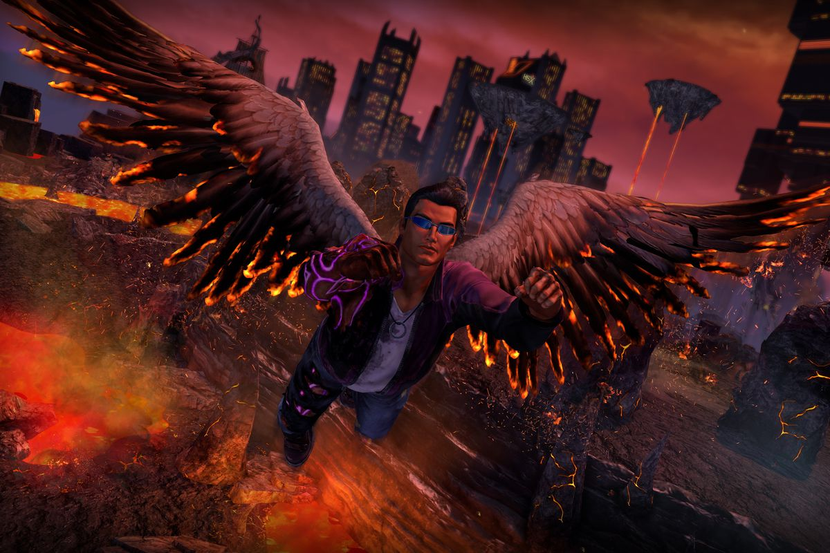 Johnny Gat flies with angel wings in a screenshot from Saints Row: Gat Out of Hell