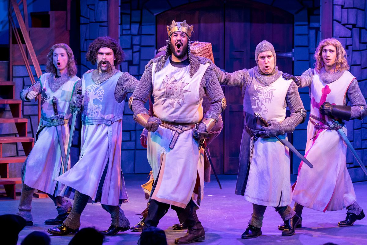 """Adam Ross Brody (from left), Daniel Smeriglio, Jonah D. Winston, Greg Foster, Karl Hamilton, David Sajewich in """"Spamalot,"""" currently playing at the Mercury Theatre."""