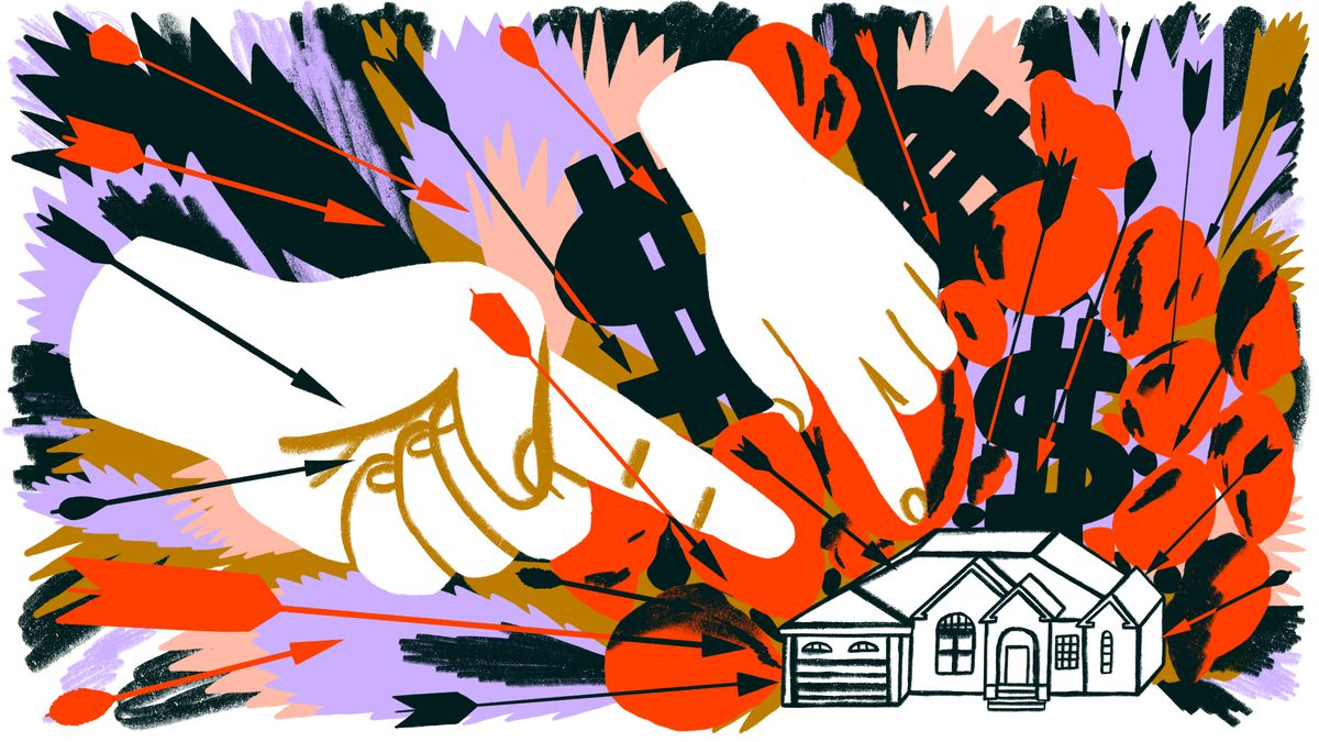 Two supersized hands point fingers menacingly at a small single family home. The image is very active and hostile in appearance. Illustration.