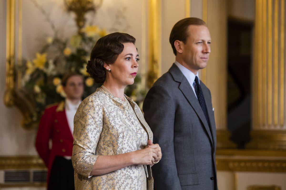 queen elizabeth II and her hubby walk the royal floor in the queen series