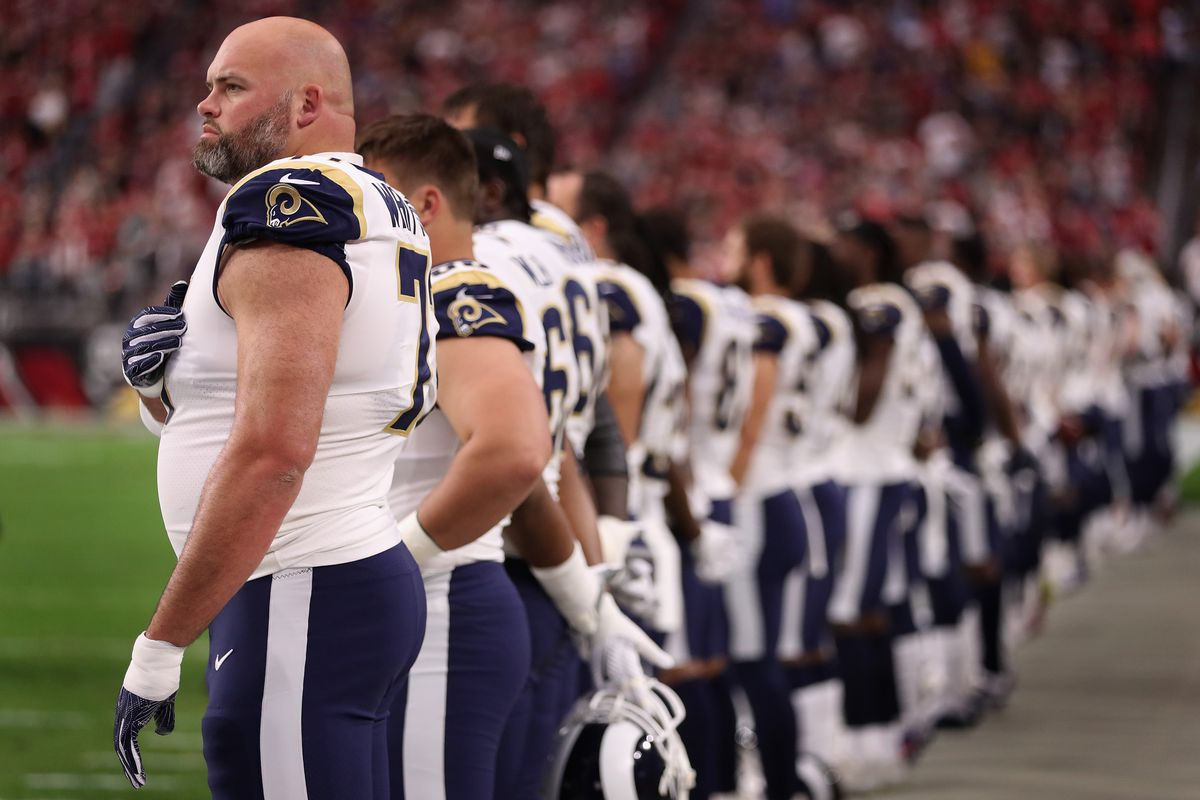 Los Angeles Rams LT Andrew Whitworth during the national anthem before the Rams' Week 13 game against the Arizona Cardinals