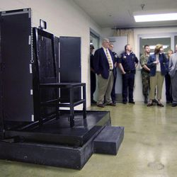 The firing squad execution chair is shown during a tour of the Utah State Prison at Draper, Utah, Monday, May 5, 2003.