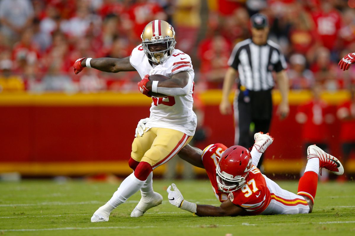 Tevin Coleman of the San Francisco 49ers rushes during the game against the Kansas City Chiefs at Arrowhead Stadium on August 24, 2019 in Kansas City, Missouri.