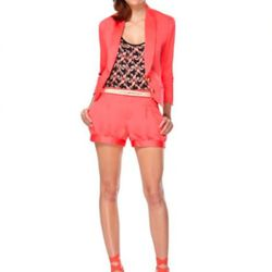 Blazer in melon ($49.99, online exclusive), tank in two-way deco print ($19.99, online exclusive), pleated shorts in melon ($24.99), and wedge sandals in palm print ($29.99, online exclusive).