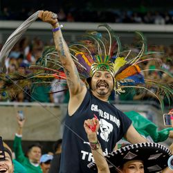 July 7, 2019 - Chicago, Illinois, United States - Mexico fans celebrate a goal by Mexico midfielder Jonathan dos Santos (6) during the Gold Cup Final at Soldier Field.