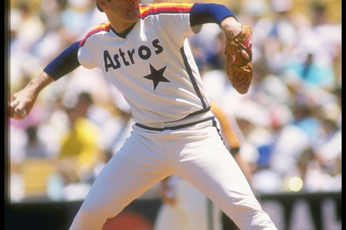 8fa8a364f9c Pitcher Nolan Ryan of the Houston Astros throws a pitch during a game at  Dodger Stadium in Los Angeles