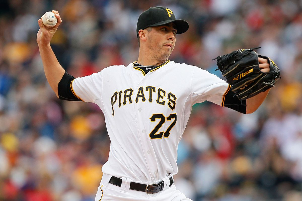 PITTSBURGH - JUNE 25:  Jeff Karstens #27 of the Pittsburgh Pirates pitches against the Boston Red Sox during the game on June 25, 2011 at PNC Park in Pittsburgh, Pennsylvania.  (Photo by Jared Wickerham/Getty Images)
