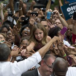 President Barack Obama greets people at a campaign event at Eden Park's Seasongood Pavilion, Monday, Sept. 17, 2012, in Cincinnati, Ohio.