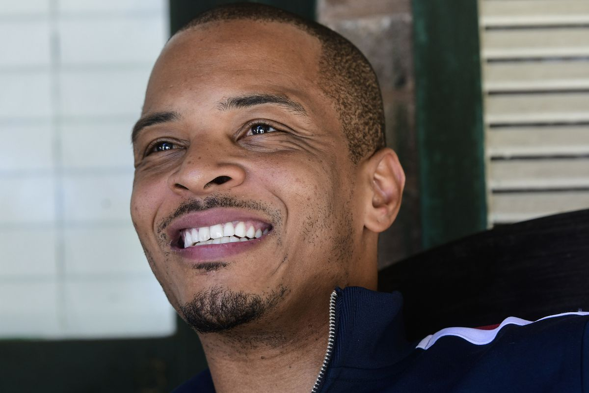 Rapper Clifford Harris Jr., better known as T.I., is photographed in 2018 on the porch of his grandparents' home where he grew up in Atlanta.
