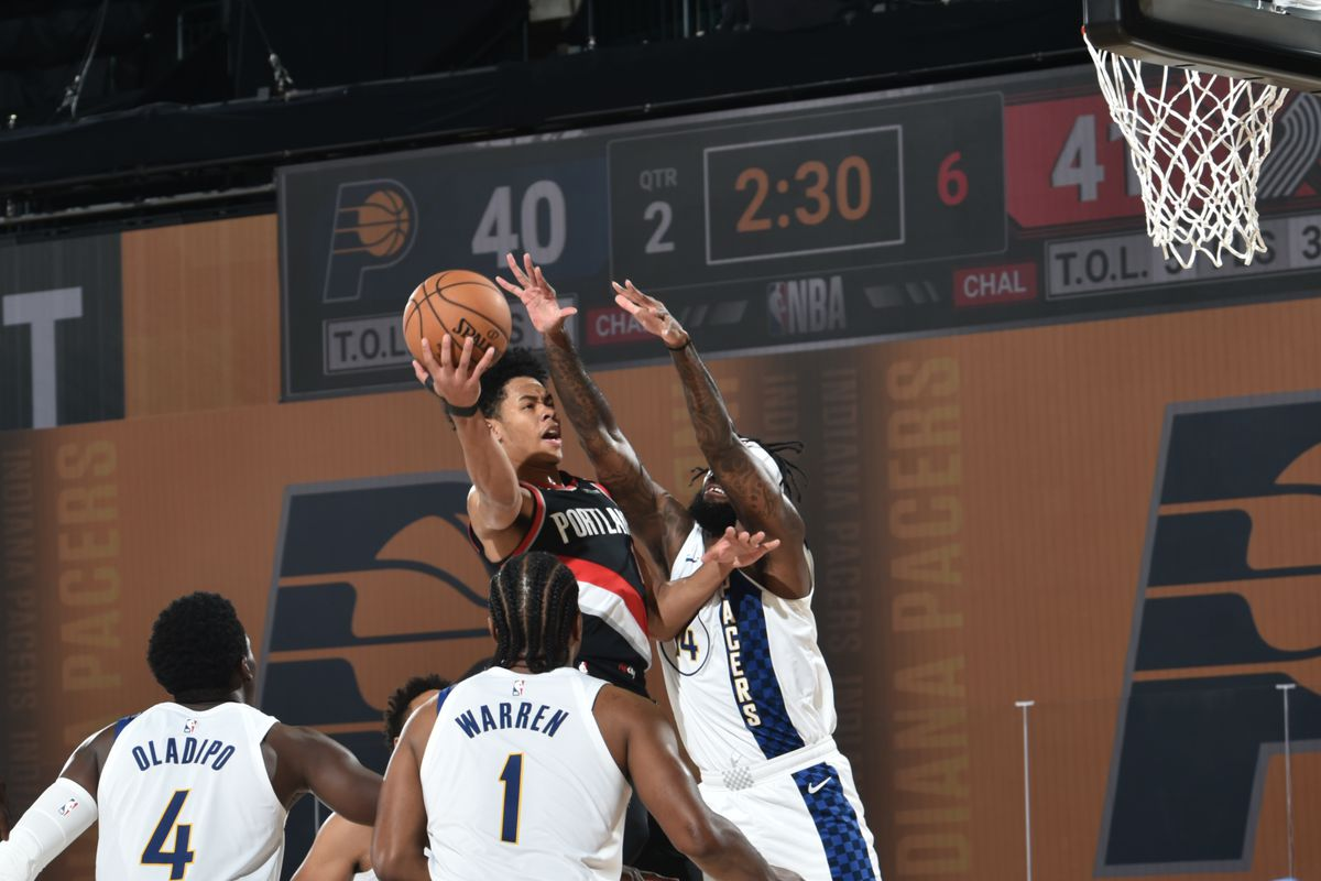 Anfernee Simons of the Portland Trail Blazers drives to the basket against the Indiana Pacers during a scrimmage on July 23, 2020 at The Arena at ESPN Wide World of Sports in Orlando, Florida.