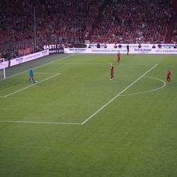 He held the Bayern logo on his heart.