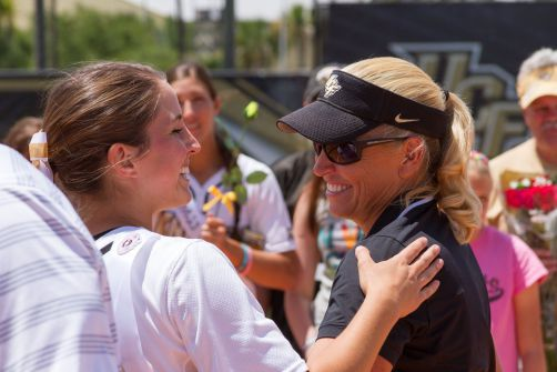 Mackenzie Audas and Coach Gillispie on Audas senior day in 2015. (Photo courtesy of Jim Hartsing)