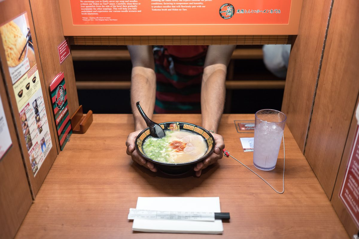 The solo dining booth at Ichiran