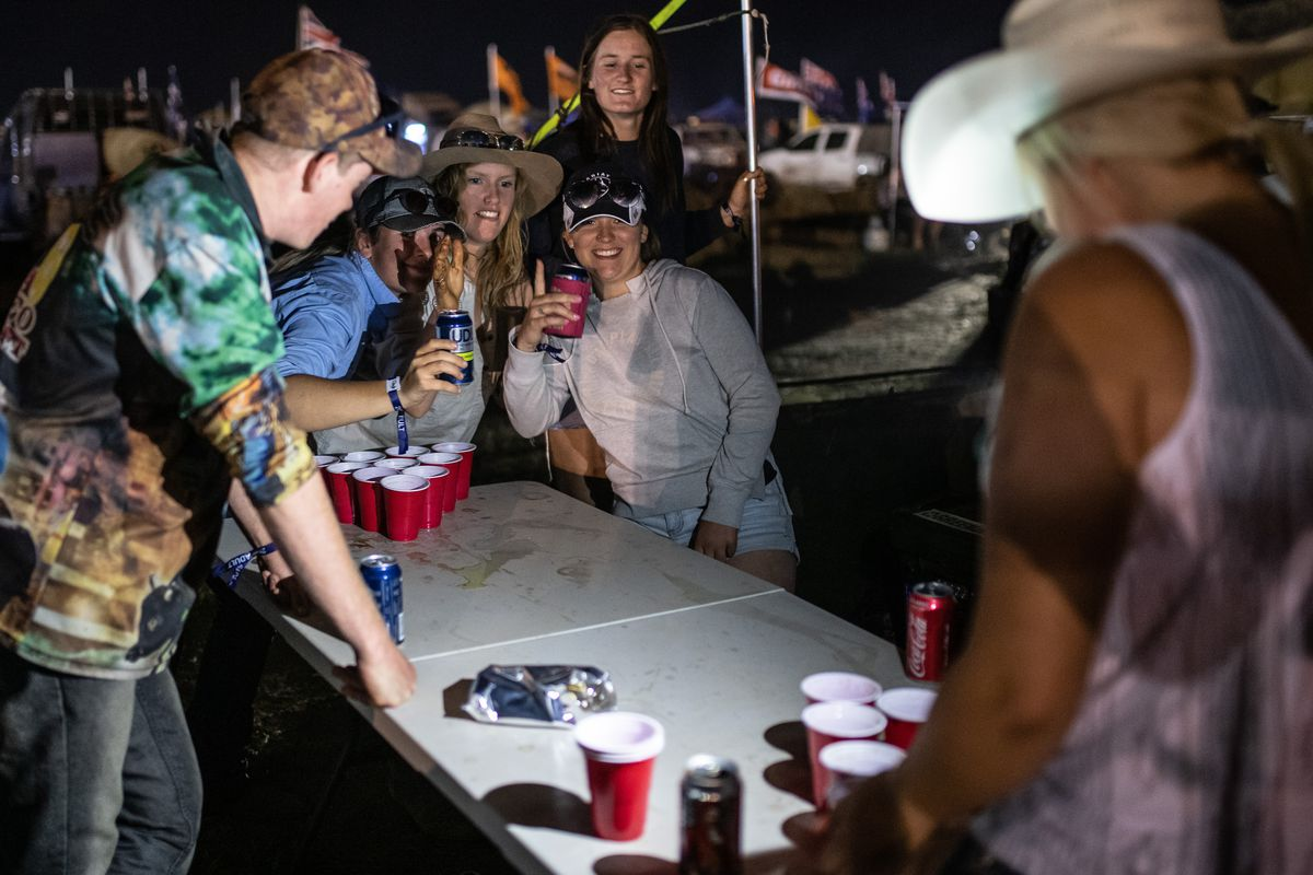 Festival goers playing Beer Pong at the 2019 Deni Ute Muster on October 03, 2019 in Deniliquin, Australia.