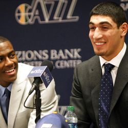 2011 Jazz draft picks Alec Burks, left and Enes Kanter, hope to see themselves in an NBA game sometime soon.